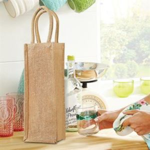 Shimmer jute bottle bag Thumbnail