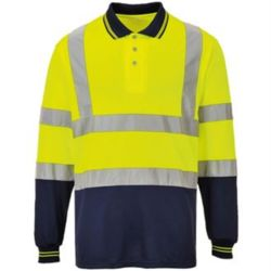 Hi-vis two-tone long sleeve polo shirt (S279) Thumbnail