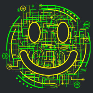 Electric Smiley - Heavyweight blend youth hooded sweatshirt Design