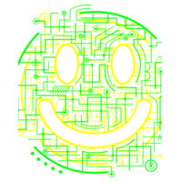 Electric Smiley - Towel City Long PJs in a Bag Design