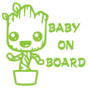 Baby Groot on Board - Car Bumper Sticker Design