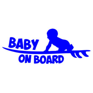 Baby on Surfboard - Car Bumper Sticker Design