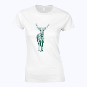 Deer Tree - Softstyle™ women's ringspun t-shirt Thumbnail