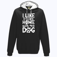 I like to stay home with my dog - Varsity Hoodie Thumbnail