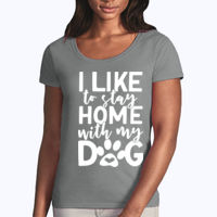 I like to stay home with my dog - Softstyle® women's deep scoop t-shirt Thumbnail