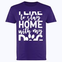 I like to stay home with my dog - Softstyle™ adult ringspun t-shirt Thumbnail