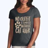 No outfit is complete without cat hair - Softstyle® women's deep scoop t-shirt Thumbnail