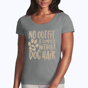 No outfit is complete without dog hair - Softstyle® women's deep scoop t-shirt Thumbnail