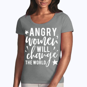 Angry Women - Softstyle® women's deep scoop t-shirt Thumbnail