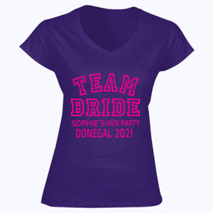 Team Bride - Softstyle™ women's v-neck t-shirt Thumbnail