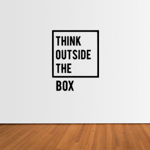 Think Outside The Box - Vertical Wall Sticker Thumbnail