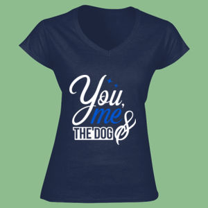You Me And The Dog - Softstyle™ women's v-neck t-shirt Thumbnail