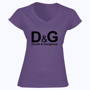 D&G Drunk and Gorgeous in Gold - Softstyle™ women's v-neck t-shirt Thumbnail