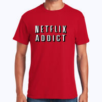 Netflix Addict - Heavy Cotton 100% Cotton T Shirt Thumbnail