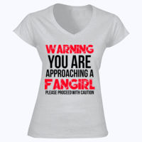 Warning Fangirl - Softstyle™ women's v-neck t-shirt Thumbnail