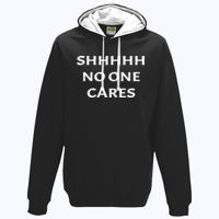 SHHHHH No one cares - Varsity Hoodie Thumbnail