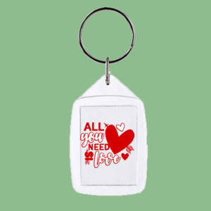 All you Need is Love  - Rectangle Smooth Edge Keyring Thumbnail